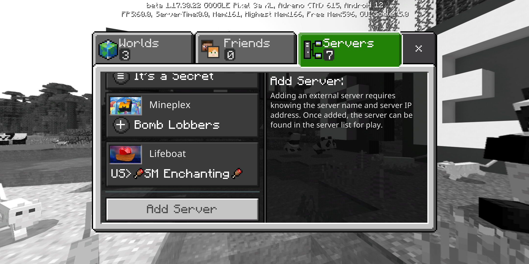 Minecraft Server list scrolled to the bottom with a button to Add Server
