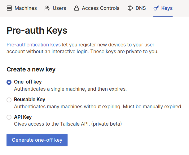 The key creation screen from the Tailscale admin console
