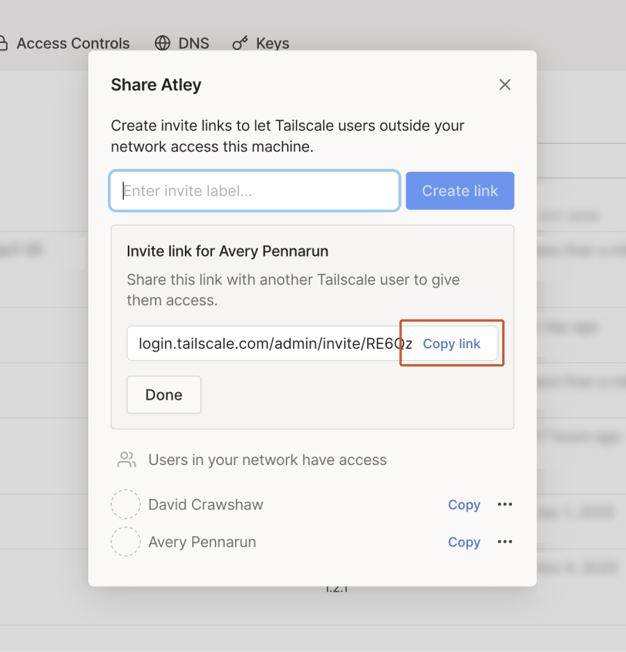 The sharing panel, showing a newly created link and the 'Copy link' button