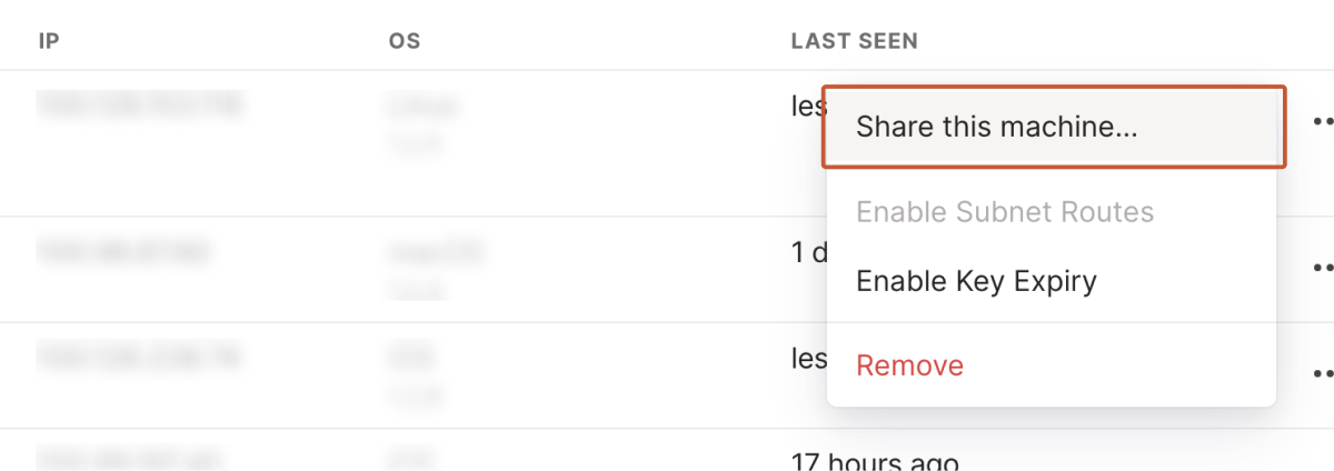 The 'Share this machine…' button in the Tailscale admin console