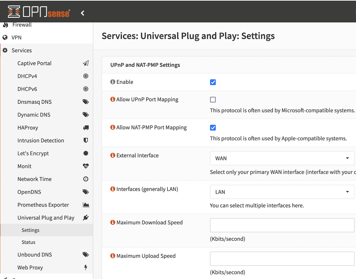 Enabling Allow NAT-PMP Port Mapping in System : Services : Universal Plug and Play : Settings