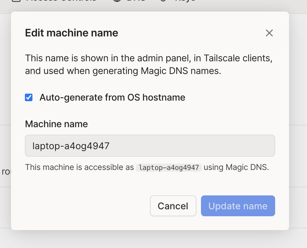 Machine name editing view