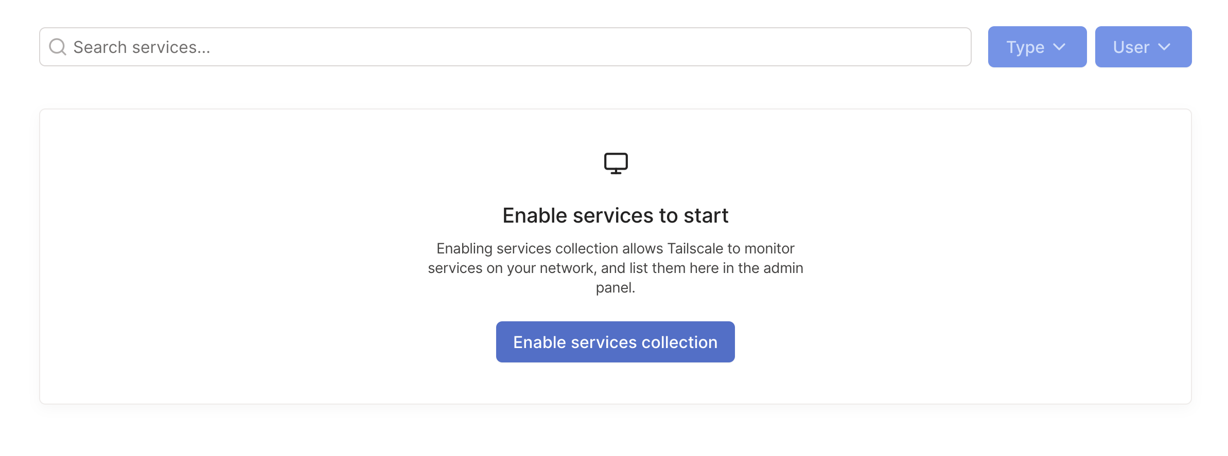 A screenshot of the button to enable services collection.