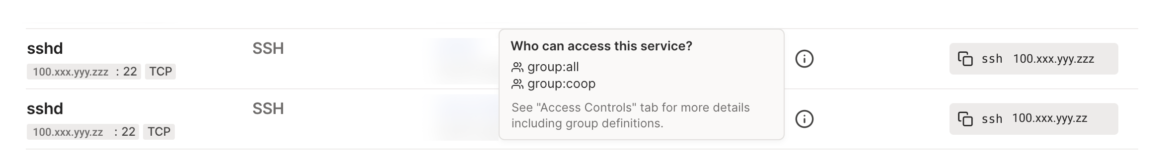 A screenshot of the services ACL preview, showing which users are allowed to access this service.