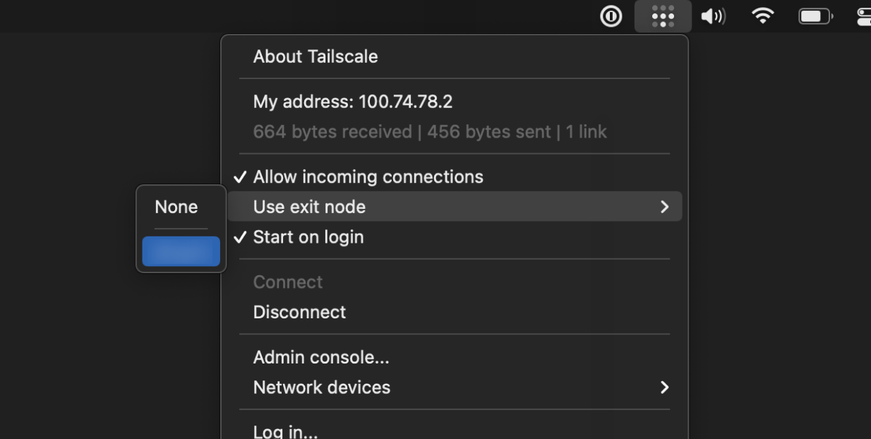 The Tailscale menu on macOS, opened to 'Use exit node'