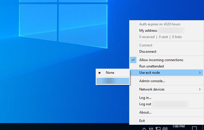 The Tailscale menu on Windows, opened to 'Use exit node'