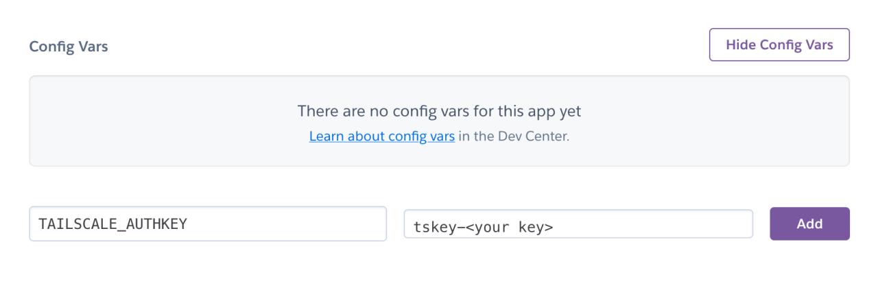 Heroku's config var interface
