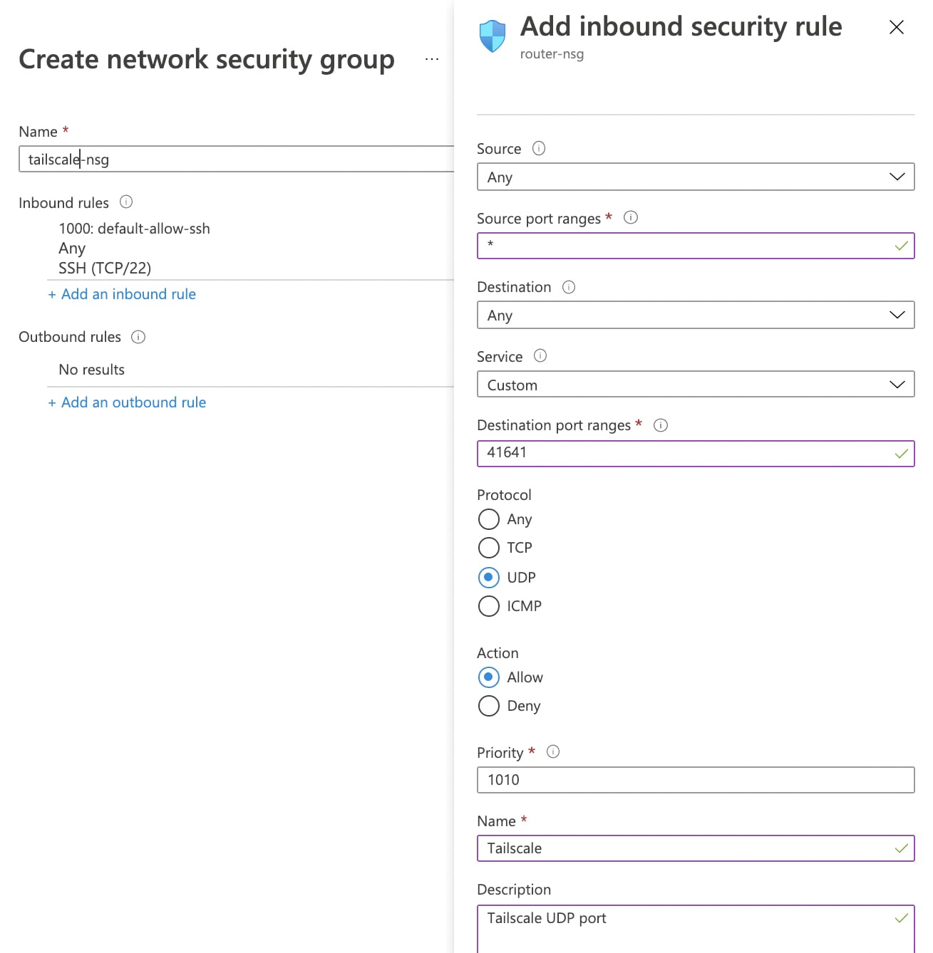 Network Security Group allow port 41641