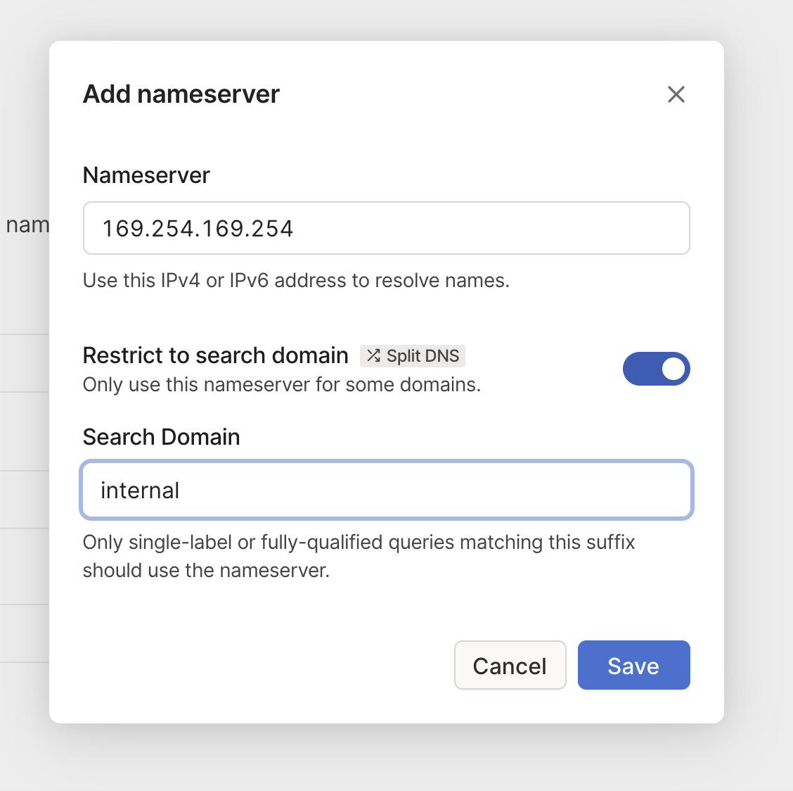 Adding a Split DNS resolver for .internal